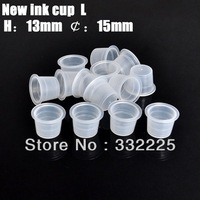 Free Shipping 100pcs 15mm White Plastic Disposable Tattoo Ink Holder Cups Pigment Supplies Permanent Makeup
