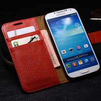 For samsunggalaxy s4 case genuine natural leather wallet case for galaxy s4, Free screen protector, Free  shipping