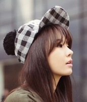 Vintage casual plaid hair balls letter wool flat brim baseball cap autumn and winter