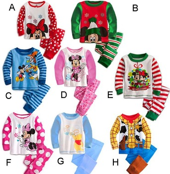 5 sets / lot CPAM Free Shipping 2013 Cartoon Cotton Baby Pajamas Set For Christmas Infant Autumn Clothing ( T-shirt + Pants )