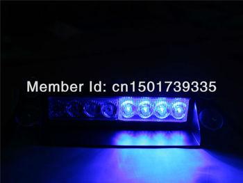 Blue Windshields 8LED Strobe Emergency Flashing Warning Light for 12V Car