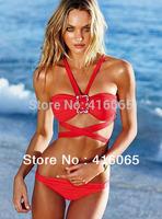 2015 New Hot Product High Quality Material Handmade Beads Ornament Fashion Women Swimwear Swimsuit Push Up Strappy Bikini Set