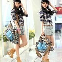 Free Shipping 2013 New Women Canvas Dual-use Retro Fashion Handbag Lady's Shoulder Bag