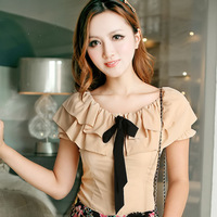 Navy blue clothing 2012 ruffle neckline ribbon decoration bow princess sleeve