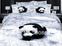 white black panda on the snowfield bedding Egyptian cotton quilt/duvet covers full/queen bed in a bag comforter bed sheets sets