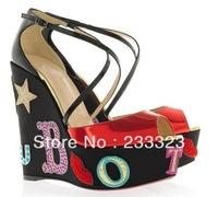 Free dropship red bottom platform pump Anniversary celebration wedge sandals