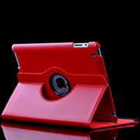Red 360 Degree Rotation Leather Stand Case Smart Cover For Apple iPad 2 3 4 Leather Case for iPad2 iPad3 iPad4 Free Shipping