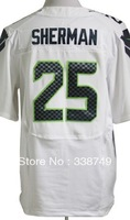 Free Ship Wholesale Men's American Football Jerseys Cheap Seattle #25 Richard Sherman Blue White Elite Jerseys,Embroidery Logos