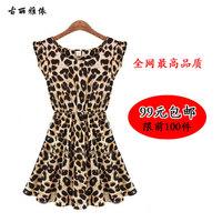 2013 fashion o-neck ruffle sleeve pleated fashion sexy leopard print irregular chiffon one-piece dress WC0250