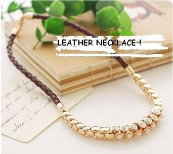 Min order $10 ( mix orders ) Trend fashion leather choker chunky statement necklace factory price