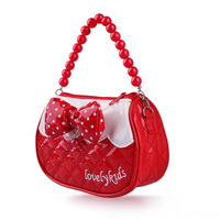 Cross-body tote bag sweet candy color patent leather child princess beads small bags