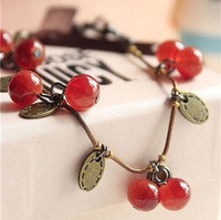 Fashion accessories glass material vintage sweet cherry gift aesthetic bracelet female  free shipping