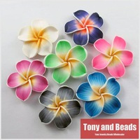 (10Pcs=1Lot !)Mixed Polymer Fimo Clay 5-leaves Flower Spacer Beads 50mm For Jewelry Making  Free Shipping Item No.FM1
