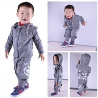 1 - 2 years old baby boy spring and autumn 100% cotton clothes children outerwear sweatshirt sports casual set 2013