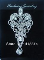 F101103016 Bridal Sash Crystal Glass Applique Silver Beaded Sewing Motif  1PCS