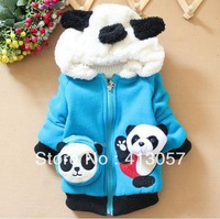 4pcs/lot boys and girls autumn winter cartoon panda hoodie children warm coat 4 color