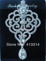 F101287025 Silver Beaded Crystal Glass Applique Embellishment Bridal Motif 1PCS