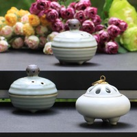 Longquan celadon copper buddha with tower incense ceramic Small incensing three-legged