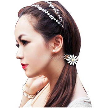 New Fashion Girl Rhinestone Flower Ponytail Holder Hair Band Headband NI5L