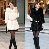 Faux outerwear rabbit fur outerwear fox fur outerwear  fashion women coat  women fur coat