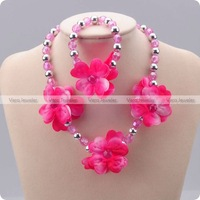 Peach Blossom Floral Pink Necklace Bracelet Kid Jewelry Set Girls Children Accessories Party Gift Wholesale 24sets/lot FKJ0009