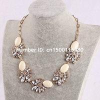 Fashion Women Jewelry Gold Chain Flower Bubble Bib Rhinestone Statement Necklace