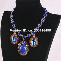 Fashion Women Jewelry Gold Chain Blue Stone Bubble Bib Flower Rhinestone Statement Necklace