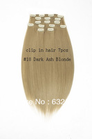 wholesale #18 Dark Ash Blonde color straight  synthetic clip in hair extension 7 pcs 18 inches  100g Free Shipping