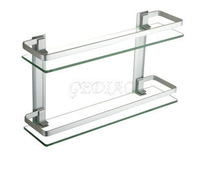 10042 space aluminum double layer glass shelf cosmetic rack dressing table 40-50cm
