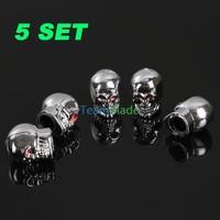 5pcs/set Skull Style Car Wheel Tire Valve Caps Aluminum Alloy Tyre Valve stems Silver free shipping wholesales