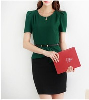 Women's 2013 spring and summer short-sleeve formal o-neck set professional stereo one-piece dress 3077 belt
