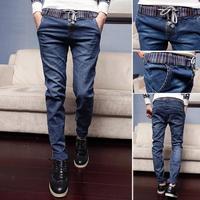 2014 fashion elastic strap slim casual personality four seasons all-match denim skinny pants male /Students feet pants