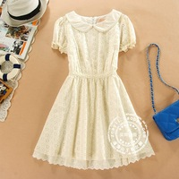 Preppy style peter pan collar cutout sweet juniors clothing short-sleeve lace one-piece dress basic skirt princess dress