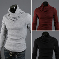 2013 New Korean Fashion Men's Slim Warm Pullover Sweater Knit Shirts black grey knitting sweaters size M-XXL Free Shipping