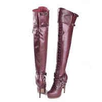 Free shipping JILULI Highend custom High brand ladies boots 2013 Europe and the United States with knee-high boots leather shoes