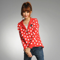 A02 school wear polka dot loose casual sports with a hood cardigan sweatshirt long-sleeve outerwear