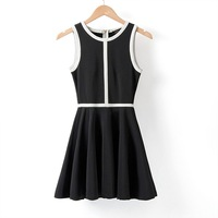 Fashion Hot-Selling 2013 Black And White Color Block Decoration Color Block Three-Dimensional Cut High Quality One-Piece Dress