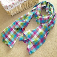 Autumn and winter sm2 linen cotton muffler scarf cape women's dual multicolour plaid scarf