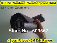New Patented 960H 800TVL Varifocal Weatherpoof IR Bullet Camera, 42pcs IR leds with 45M Day/Night Range