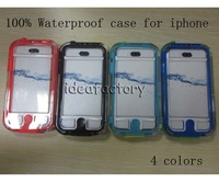 Factory Supply 4 Colors Waterproof Shockproof Dustproof Transparent Survivor case for iPhone 4 4S
