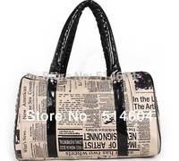 Newspapers poster bag Womens handbag Retro Vintage Style Lady Handbag Tote Shoulder Bag traveling bag commuter bag