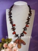 Fashion Pearl jewelry - Wrap Chip With Semi-precious stonestone Charm Necklace