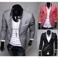 S5H 2014 Mens Casual Clothes Slim Fit Stylish Suit Blazer Coats Jackets M L XL XXL Free Drop Shipping