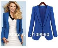 European American Western Business Women Blazers Suit Handsome Jacket Formal Clothes 2013 New Fashion Design Long-sleeve Blue