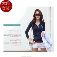 Plus size plus size clothing gossip spring and autumn hot-selling buckle embroidered fashion T-shirt V-neck