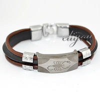 Free Shipping Fashion Jewelry 12mm Mens Boys Black Brown Stainless Steel Scorpion Charm Faux Leather Bracelet  Wristband BL168