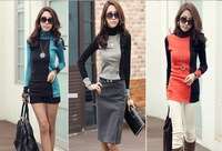 2013 new fashion women clothing t shirt korean style punk sexy tops tee clothes Long sleeve T-shirt Slim mixed colors