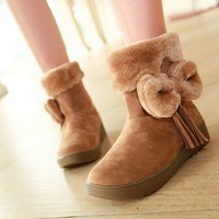 2013Autumn And Winter Thick Plush Female  Snow Boots Cute Bow Tassel Flat fur Bboots Female