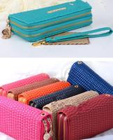 Women's PU leather Wallet Mobile Phone case Double zipper wallet / card holder,D199