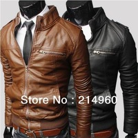 Hot Sale Men's Horizontal zipper Slim washing PU Leather Leather motorcycle Jackets Coat Outerwear